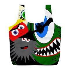 Halloween Monsters Full Print Recycle Bags (l)  by Valentinaart