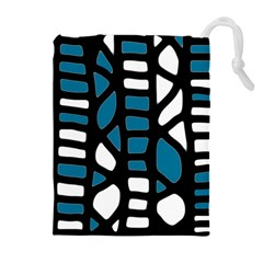 Blue Decor Drawstring Pouches (extra Large) by Valentinaart
