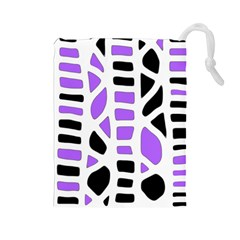 Purple Abstract Decor Drawstring Pouches (large)  by Valentinaart