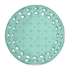 Light Blue Lattice Pattern Round Filigree Ornament (2side) by TanyaDraws