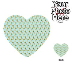 Tropical Watercolour Pineapple Pattern Multi Purpose Cards (heart)  by TanyaDraws