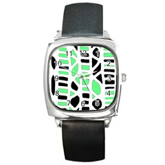 Light Green Decor Square Metal Watch by Valentinaart