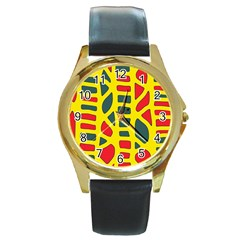 Yellow, Green And Red Decor Round Gold Metal Watch by Valentinaart
