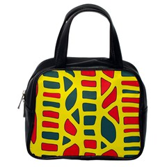 Yellow, green and red decor Classic Handbags (One Side) by Valentinaart