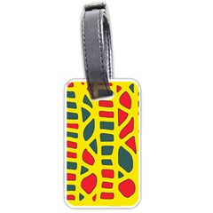 Yellow, Green And Red Decor Luggage Tags (one Side)  by Valentinaart