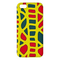 Yellow, Green And Red Decor Iphone 5s/ Se Premium Hardshell Case by Valentinaart