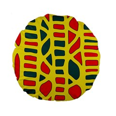 Yellow, Green And Red Decor Standard 15  Premium Flano Round Cushions by Valentinaart