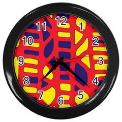 Red, Yellow And Blue Decor Wall Clocks (black) by Valentinaart