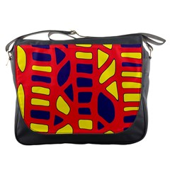 Red, Yellow And Blue Decor Messenger Bags by Valentinaart