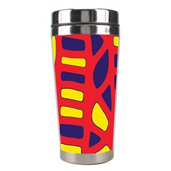 Red, Yellow And Blue Decor Stainless Steel Travel Tumblers by Valentinaart