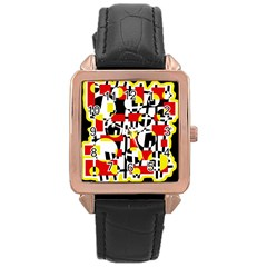 Red And Yellow Chaos Rose Gold Leather Watch  by Valentinaart
