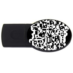 Black And White Abstract Chaos Usb Flash Drive Oval (2 Gb)  by Valentinaart