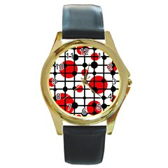 Red Circles Round Gold Metal Watch by Valentinaart