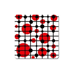 Red Circles Square Magnet by Valentinaart