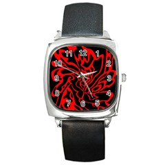 Red And Black Decor Square Metal Watch by Valentinaart