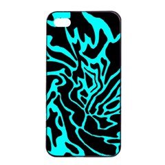 Cyan Decor Apple Iphone 4/4s Seamless Case (black) by Valentinaart