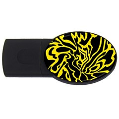 Black And Yellow Usb Flash Drive Oval (4 Gb)  by Valentinaart