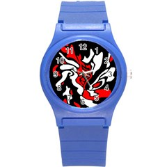Red, Black And White Decor Round Plastic Sport Watch (s) by Valentinaart