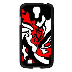 Red, Black And White Decor Samsung Galaxy S4 I9500/ I9505 Case (black) by Valentinaart