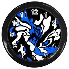 Blue, Black And White Decor Wall Clocks (black) by Valentinaart