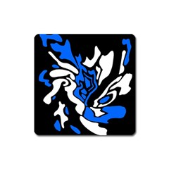 Blue, Black And White Decor Square Magnet by Valentinaart