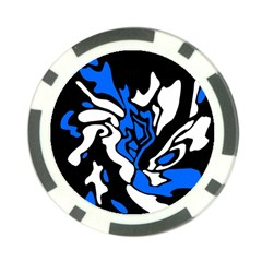 Blue, Black And White Decor Poker Chip Card Guards by Valentinaart