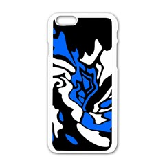Blue, Black And White Decor Apple Iphone 6/6s White Enamel Case by Valentinaart
