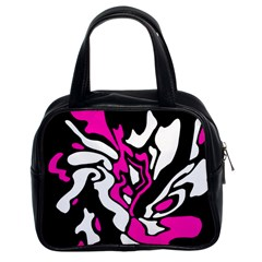 Magenta, Black And White Decor Classic Handbags (2 Sides) by Valentinaart