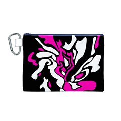 Magenta, Black And White Decor Canvas Cosmetic Bag (m) by Valentinaart