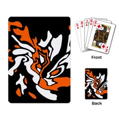 Orange, White And Black Decor Playing Card by Valentinaart