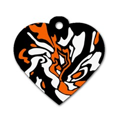 Orange, White And Black Decor Dog Tag Heart (one Side) by Valentinaart