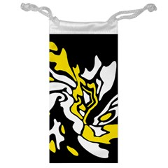 Yellow, Black And White Decor Jewelry Bags by Valentinaart