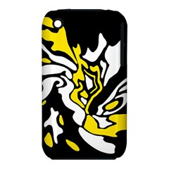 Yellow, Black And White Decor Apple Iphone 3g/3gs Hardshell Case (pc+silicone) by Valentinaart