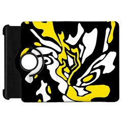 Yellow, Black And White Decor Kindle Fire Hd Flip 360 Case by Valentinaart
