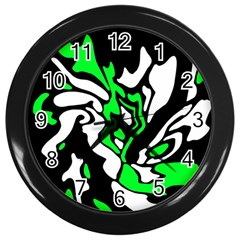Green, White And Black Decor Wall Clocks (black) by Valentinaart