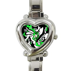 Green, White And Black Decor Heart Italian Charm Watch by Valentinaart