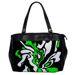 Green, White And Black Decor Office Handbags by Valentinaart