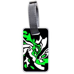 Green, white and black decor Luggage Tags (One Side)  by Valentinaart