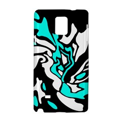 Cyan, black and white decor Samsung Galaxy Note 4 Hardshell Case by Valentinaart