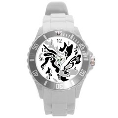 Gray, black and white decor Round Plastic Sport Watch (L) by Valentinaart