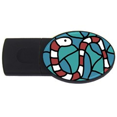 Red Snake Usb Flash Drive Oval (4 Gb)  by Valentinaart