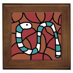 Blue Snake Framed Tiles by Valentinaart