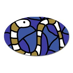 Green Snake Oval Magnet by Valentinaart