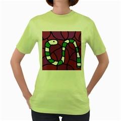 Green Snake Women s Green T Shirt by Valentinaart