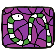 Green Snake Netbook Case (xl)  by Valentinaart