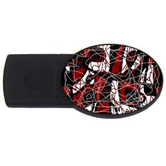 Red black and white abstract high art USB Flash Drive Oval (4 GB)  by Valentinaart