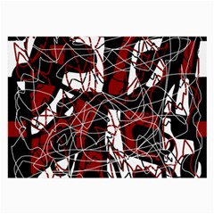 Red Black And White Abstract High Art Large Glasses Cloth by Valentinaart