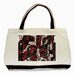 Red Black And White Abstract High Art Basic Tote Bag (two Sides) by Valentinaart