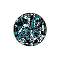 Blue, Black And White Abstract Art Hat Clip Ball Marker (4 Pack) by Valentinaart