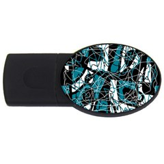 Blue, Black And White Abstract Art Usb Flash Drive Oval (4 Gb)  by Valentinaart